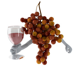 grapes with arms and glass of wine o