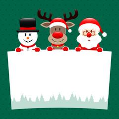 Snowman, Rudolph & Santa Wishlist Dots Green