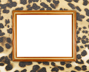 blank wood frame on leopard texture