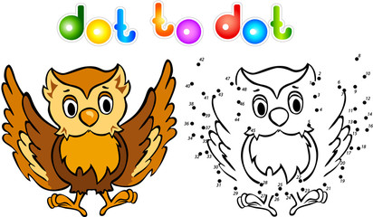Funny cartoon owl dot to dot
