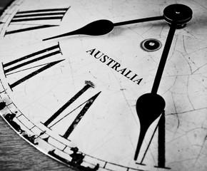 Australia black and white clock face