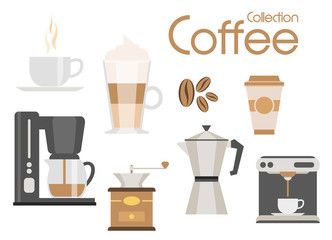 Coffee icon set, vector design elements