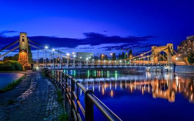 Obraz Wrocław nocą, Most Grunwaldzki - fototapety do salonu