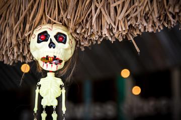 skeleton model hanging on the roof