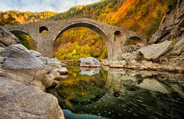 Autumn view with The Devil's Bridge, Bulgaria