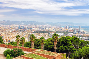 Panorama on Barcelona city from Montjuic castle.Catalonia. Spain
