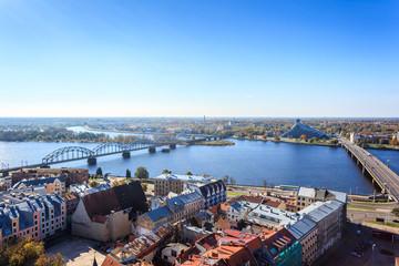 Riga city view including railway bridge