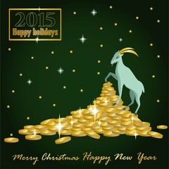 goat Christmas on the mountain of gold coins and a card with the