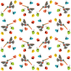 Hummingbirds in the flowers, seamless texture for printing on fa
