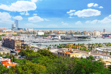 Panorama on Barcelona Seaport from Montjuïc castle.Catalonia.Sp