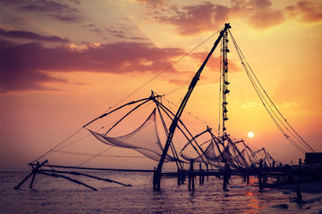 Chinese fishnets on sunset. Kochi, Kerala, India
