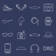 Hipster icons set outline