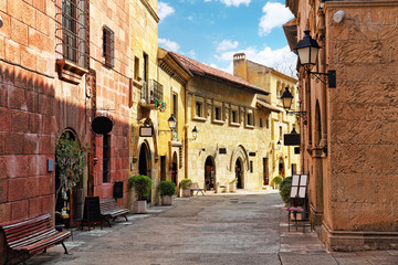 Typical landscapes and authentic Catalan cozy streets in cities