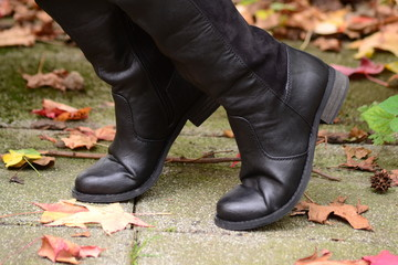 Women's black boots with a small heel