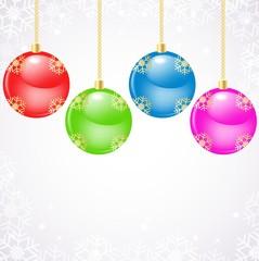 Glass christmas balls hanging over snowflake background