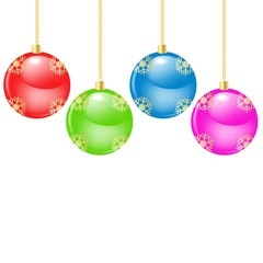Glass christmas balls hanging over blank background