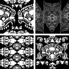 Vector seamless black and white Cambodian floral pattern