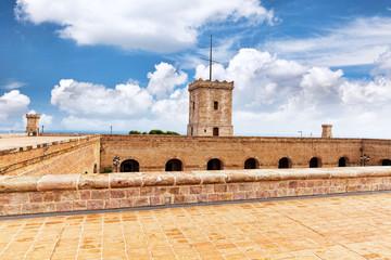 View of Castillo de Montjuic  on mountain Montjuic in  Barcelona