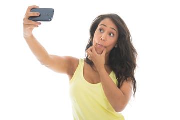 Black woman taking mad selfie