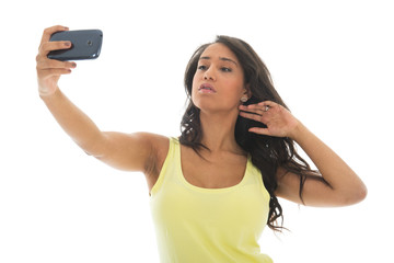 Black woman taking selfie