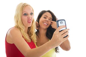 Girlfriends taking mad selfie