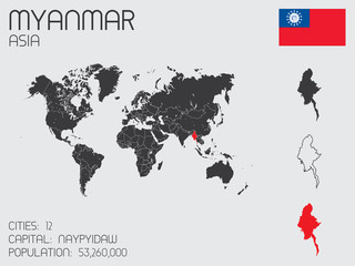 Set of Infographic Elements for the Country of Myanmar