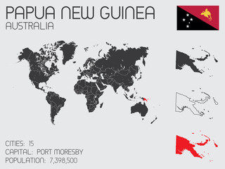 Set of Infographic Elements for the Country of Papua New Guinea