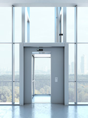 Transparent elevator in penthouse