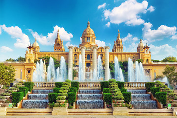 Photo sur Aluminium Barcelone National Museum in Barcelona,Placa De Espanya,Spain.