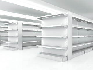 white clean shelves