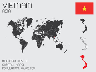 Set of Infographic Elements for the Country of Vietnam