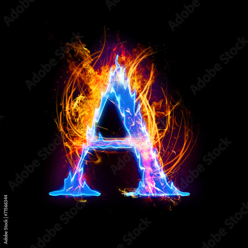 Fire And Ice Text Capital Letter Alphabet A Stock Photo And Royalty