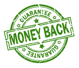 money back guarantee stamp isolated on white background