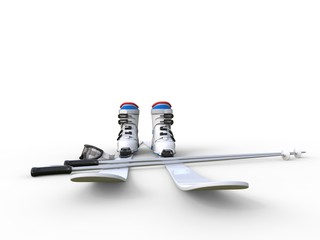 Skis with ski boots - front view