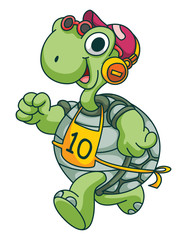 Sport Running Turtle Funny Cartoon