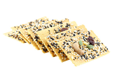 Healthy cracker, isolated on white background.