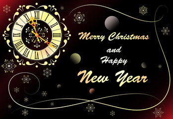 Christmas background with clock, banner, vector illustration.