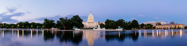 Panorama of the United Statues Capitol, Washington DC, USA.