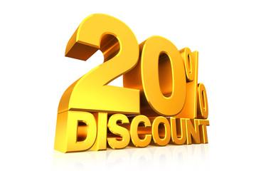 3D render gold text 20 percent discount.
