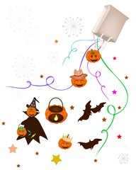Various Halloween Item and Evil Falling From Paper Bag