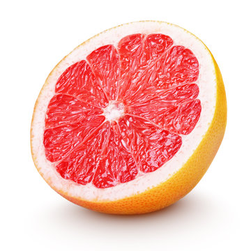 Half grapefruit citrus fruit on white with clipping path