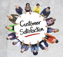 People in a Circle with Customer Satisfaction