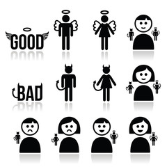 Angel, devil man and woman icon set