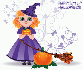 Happy Halloween. Cute little witch and pumpkin card. vector
