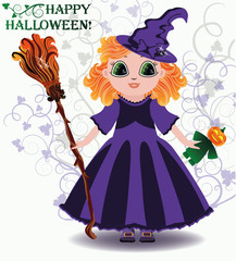 Happy Halloween. Little witch with pumpkin doll. vector