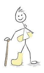 personnage bras et jambe dans le platre