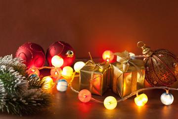 burning christmas lanterns and decoration background