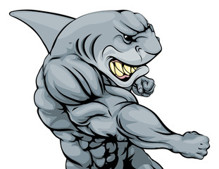 Punching shark mascot