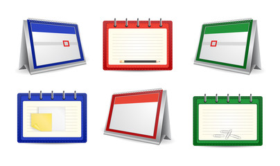 Calendars and organizers in various colors