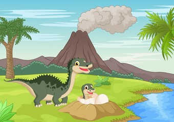 Poster Dogs Mother dinosaur with baby hatching